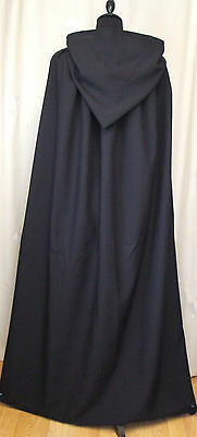 Black Hooded Cape/cloak    Wicca - Goth - Halloween -Made In Uk