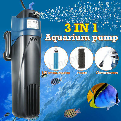 5W UV Sterilizer Submersible Oxygen Pump Filter Water Cycle Aquarium Fish Tank