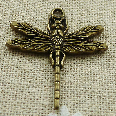 Free Ship 112 pieces Antique bronze dragonfly pendant 32x29mm #491
