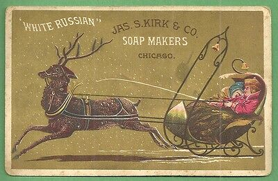 1890 Trade Card JAS. S. KIRK SOAP MAKERS WHITE RUSSIAN Sleigh & Reindeer