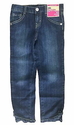Girls Jeans Adjustable Waist Dark Wash Straight Leg Ex Uk Store 4 5 6 Years New