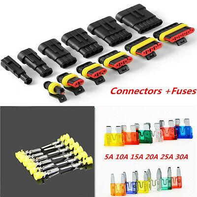 1/2/3/4/5/6Pin Wire Way Car Waterproof Electrical Connector Terminal+Blade Fuses