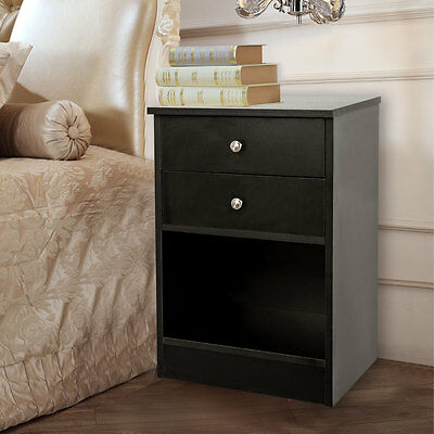 Black White With 2 Drawers Wooden Cabinet Bedside Side Table Nightstand Storage