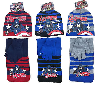 BOYS HAT SCARF GLOVES MARVEL AVENGERS CAPTAIN AMERICA 3pc SET 2-8 YEARS BNWT