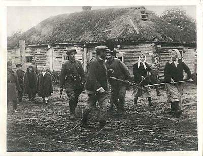 WWII Soviet Villagers & Guerrilla Soldier March Traitor to Firing Squad Photo