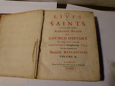 Antique 1729 LIVES OF SAINTS Vol II Thomas Meighan Leather Book 564 pages