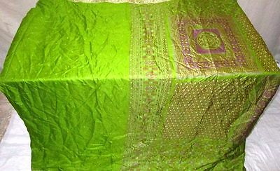 Pure silk Antique Vintage Sari INDIA CRAFT 4Y Dgi Green FABRIC #AC42G