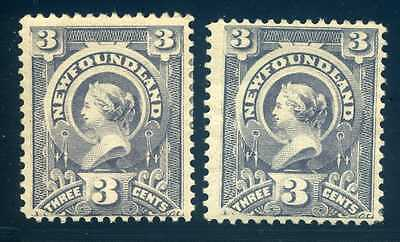 60, 3c Queen Victoria, 2 shades, Mint Hinged, F/VF