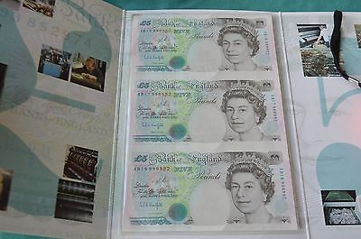 Bank of England - 3 x UNCUT £5 Kentfield Banknotes in Presentation Folder UNC #A
