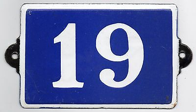 Old blue French house number 19 door gate plate plaque enamel steel metal sign