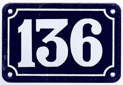 Old blue French house number 136 door gate plate plaque enamel metal sign steel