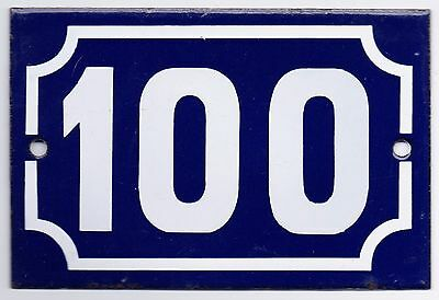Old blue French house number 100 door gate plate plaque enamel metal sign steel