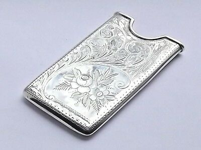 Fine Antique Aesthetic Victorian Solid Silver Sterling Card Case Birmingham 1901