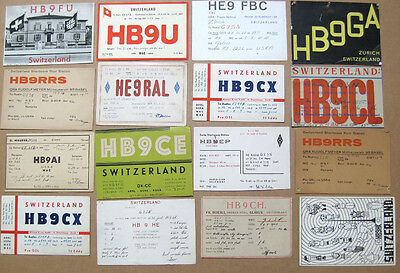 Collection of 16 Amateur Radio QSL Cards all from SWITZERLAND dated 1946-1950
