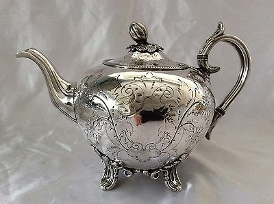 Fine Antique Victorian Sheffield Chased Silver Plated Teapot J Dixon&Sons C.1860