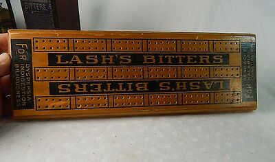 Antique LASH'S BITTERS Wooden Cribbage Board Advertise  QUACK MEDICINE