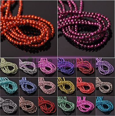 Bulk Lot 4mm Half Plated Round Crystal Glass Loose Spacer Beads Jewelry Making