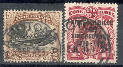 COOK IS.1932,2d.Then 1935 S/Jubilee 1d Variety.Used. SEE ITEM SPECIFICS BELOW