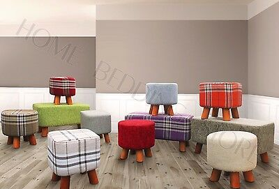 Large Small Ottoman Foot Rest Stool Check Linen Chenille Round New Padded Pouffe