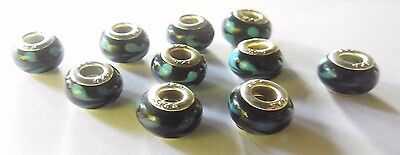1 925  sterling silver Murano glass bead Abstract blues on black .