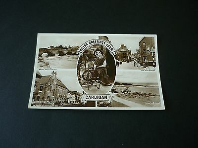 Welsh Greetings from CARDIGAN, Vintage Real Photographic Postcard