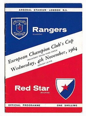 1964/65 European Cup Play-Off Match - RANGERS v. RED STAR BELGRADE (at Arsenal)