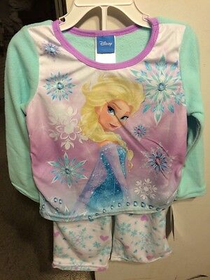 NWT $36 Disney FROZEN Girls 2 Piece Fleece Sleepwear Set Elsa Size 4 Pajamas