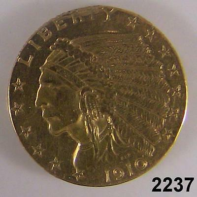 1910 $2.50 Gold Indian Extra Fine Cleaned Quarter Gold Eagle #2237