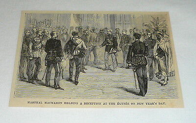 1879 magazine engraving ~ MARSHAL MACMAHON HOLDING RECEPTION Elysee, New Year's