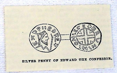 small 1882 magazine engraving ~ SILVER PENNY OF EDWARD THE CONFESSOR