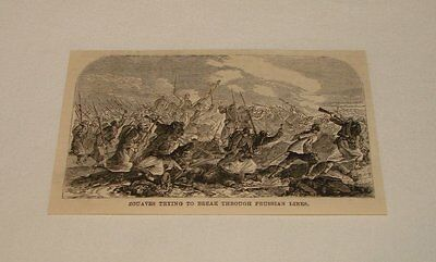 1886 magazine engraving ~ ZOUAVES BREAKING PRUSSIAN LINES