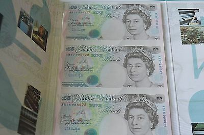 Bank of England - 3 x UNCUT £5 Kentfield Banknotes in Presentation Folder UNC #J