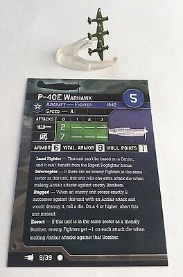 Axis & Allies War At Sea: P-40E Warhawk And Stat Card, Fighter, Fleet Command