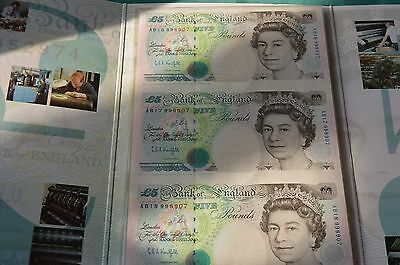 Bank of England - 3 x UNCUT £5 Kentfield Banknotes in Presentation Folder UNC #L