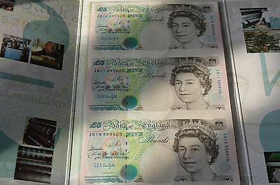 Bank of England - 3 x UNCUT £5 Kentfield Banknotes in Presentation Folder UNC #M