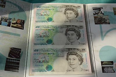 Presentation Pack of 3 x UNCUT £5 Kentfield Banknotes AB16, 17 & 18 999573 UNC