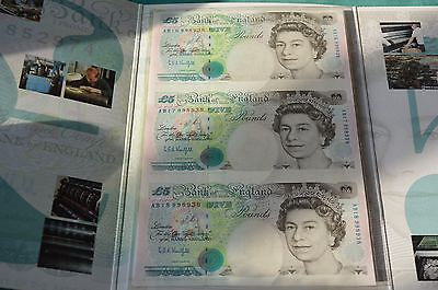Presentation Pack of 3 x UNCUT £5 Kentfield Banknotes AB16, 17 & 18 998938 UNC
