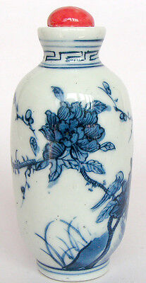 Blue and white Jingdezhen porcelain snuff bottle painted flowers with birds