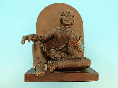 Joe Beeler, Sedona, Az. Cast Bronze Early Americana Sculpture Book End