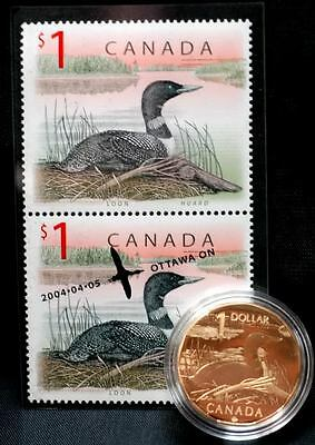 2004 Canada $1 Coin & Stamp Set 'The Elusive Loon'