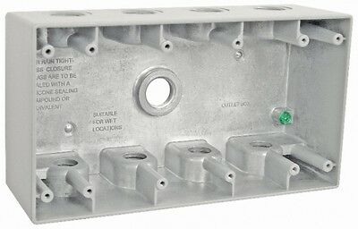 """2-5/8"""" Deep Four (4) Gang Weatherproof Electrical Box with (9) 1/2"""" Holes"""