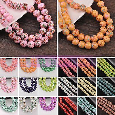 Hot Wholesale Colorful Round Glass Loose Spacer Beads Lot Bulk 6mm 8mm 10mm 12mm