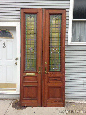 9 foot tall Victorian Style Stained Glass Leaded and Wooden Doors - Glass Window