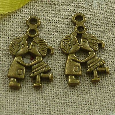 free ship 140 pieces Antique bronze boy kissing girl charms 28x16mm #3336