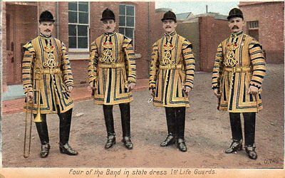 """""postcard Four Of The Band In State Dress,1St Life Guards,dated 1906"""""