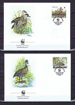 BAHAMAS 1988 four official FDC's WWF 1988 Birds - West Indian Whistling Duck