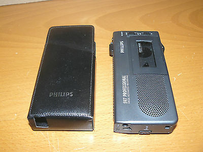 Philips Professional 597 minicassette voice recorder + case (not microcassette)