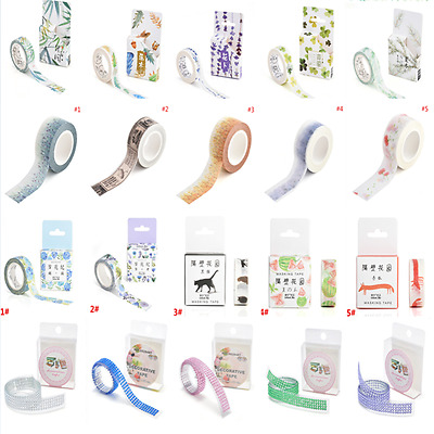 1Roll DIY Floral Washi Sticker Decor Roll Paper Masking Adhesive Tape Crafts JT