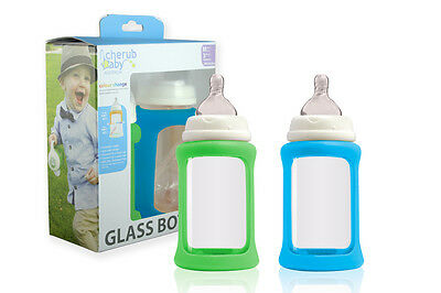 Cherub Baby Glass Bottle & Sleeve Wide Neck 240ml Twin Pack - Blue Green NEW
