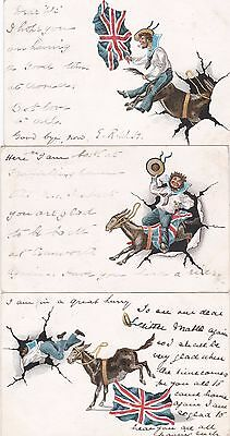 Naval Humour 1904 x3 Cards: Sailor Unseated by Bucking Donkey: Postmark Interest